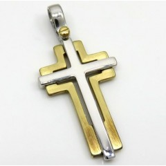14k Yellow And White Gold Two Tone Double Cross