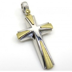 14k Yellow And White Gold Two Tone Italian Cross