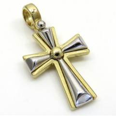14k Yellow And White Gold Two Tone Pebble Cross