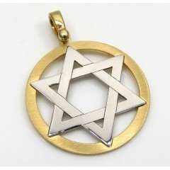 14k Yellow And White Gold Two Tone Medium Star Of David Pendant