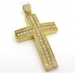 14k Yellow Or White Gold Three Row Cross 2.15ct