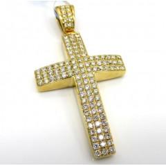 14k Yellow Or White Gold 3x3 Row Vs Diamond Cross 1.02ct