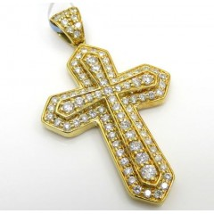 14k Yellow Or White Gold Diamond Sword Cross 0.85ct