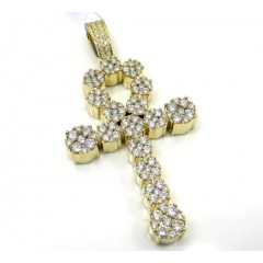 14k Yellow Or Rose Gold Fancy Diamond Ankh Cross 2.67ct