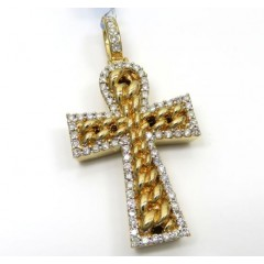 14k Yellow Or White Gold Diamond Cuban Cross 1.48ct