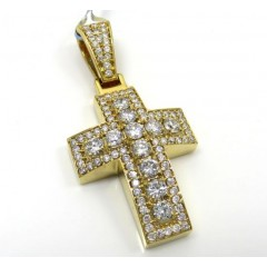14k Yellow Or White Gold Diamond Boxed Arch Cross 2.40ct