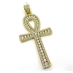 14k Yellow Gold Slim Frame Diamond Ankh Cross 2.79ct