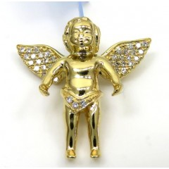 14k Yellow White Or Rose Gold Mini Diamond Baby Cherub Pendant 0.11ct