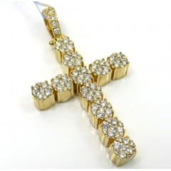 14k Yellow Gold Large Diamond 11 Cluster Cross 1.96ct