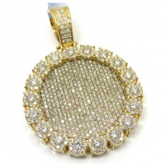 14k Yellow Gold Fully Iced Large Medallion Pendant 7.39ct