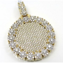 14k Yellow Gold Fully Iced Medium Medallion Pendant 4.48ct