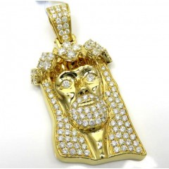 14k Yellow Gold Diamond Jesus Piece Pendant 3.64ct
