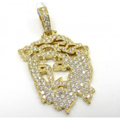 14k Yellow Or White Gold Stencil Jesus Piece 1.51ct