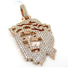 14k Rose Gold Diamond Stencil Large Jesus Piece 3.41ct
