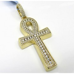 14k Yellow White Or Rose Gold Thick Frame Diamond Ankh Cross 3.00ct