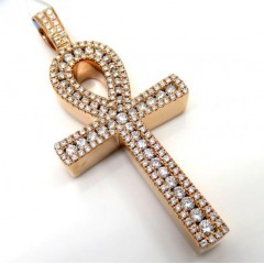 14k Yellow White Or Rose Gold Channel Diamond Medium Ankh Cross 1.04ct