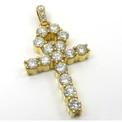 14k Yellow Gold Fancy 18 Diamond Medium Ankh Cross 4.60ct