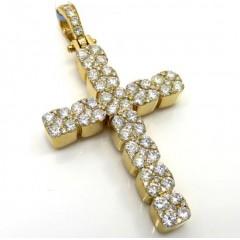 14k Yellow Or White Gold 9 Diamond Cluster Cross 2.90ct