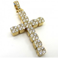 14k Yellow Or White Gold 9 Diamond Cluster Cross 2.90ct