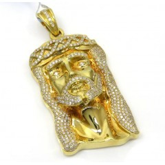 14k Yellow Gold Diamond Crowned Jesus Piece Pendant 1.45ct
