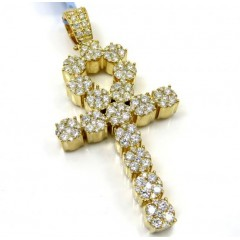 14k Yellow Or White Gold Nine Diamond Cluster Ankh Cross 5.26ct