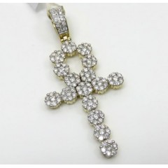 14k Yellow White Or Rose Gold Large Diamond Cluster Ankh Cross 2.85ct