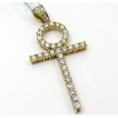 18k Yellow Or White Gold Skinny Diamond Ankh Cross