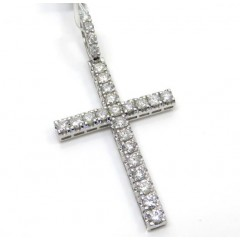 14k White Gold Large Diamond Prong Cross 3.36ct