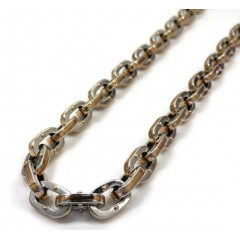 Baraka 18k Two Tone Gold Ritmika Collection Anchor Chain 0.02ct 24 Inch