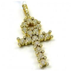 14k Yellow Gold Diamond Cluster Prong Ankh Cross 1.10ct