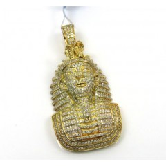 14k Yellow Gold Diamond Fully Iced Out Pharaoh Pendant 2.27ct