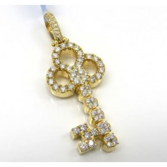 14k Yellow Gold Medium Diamond Key Pendant 1.44ct