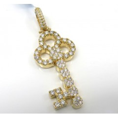 14k Yellow Gold Large Diamond Key Pendant 3.54ct