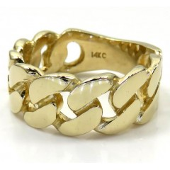 14k Yellow Gold 9mm Solid Cuban Link Ring