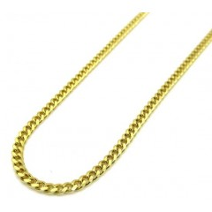 10k Yellow Gold Solid Thin Miami Chain 24 Inch 2mm