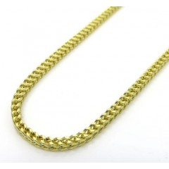 10k Yellow Gold Hollow Skinny Franco Link Chain 22-26 Inch 1.8mm
