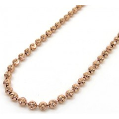 10k Rose Gold Moon Cut Bead Link Chain 28 Inch 2mm