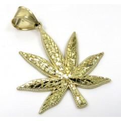 14k Yellow Gold Nugget Marijuana Leaf Pendant
