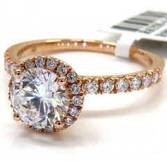 Ladies 14k Rose Gold Round Diamond Halo Engagement Ring 0.43ct