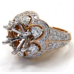 Ladies 14k Rose Gold Round Diamond Semi Mount Ring 1.50ct