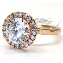 14k Rose Gold Round Diamond Halo Semi Mount Ring 0.19ct