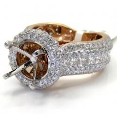 Ladies 14k Rose Gold Diamond Semi Mount Ring 3.52ct