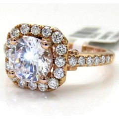 14k Rose Gold Round Diamond Square Halo Semi Mount Ring 0.52ct