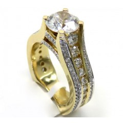 Ladies 14k Yellow Gold Round White Diamond Semi Mount Ring 1.57ct