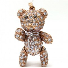 14k Rose Gold Teddy Bear Diamond Pendant 4.99ct