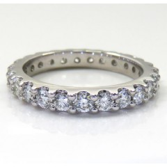 14k White Gold Single Row Eternity Diamond Wedding Band 1.30ct