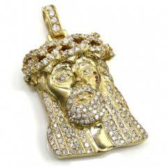 4.00ct 14k Yellow Gold Large Jesus Head Red Tear Diamond Pendant