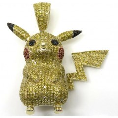 10k Yellow Gold Canary Diamond Pikachu Pendant 2.00CT