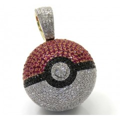 10k Yellow Gold Iced Out Diamond Pokeball Pendant 2.19ct