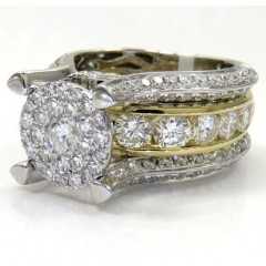 14k White And Yellow Gold Diamond Engagement Ring 4.56ct